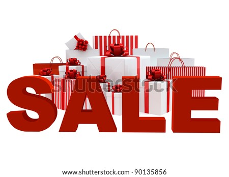 Bags and boxes with a word Sale on white background - stock photo