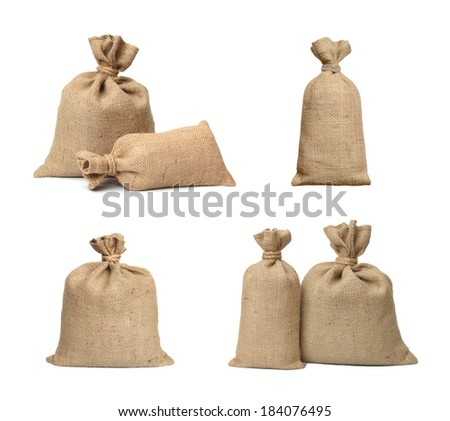 Bags from a sacking isolated on a white background. - stock photo