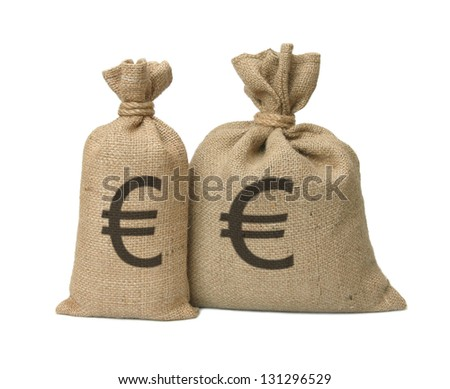 Bags from a sacking with euro isolated on a white background. - stock photo