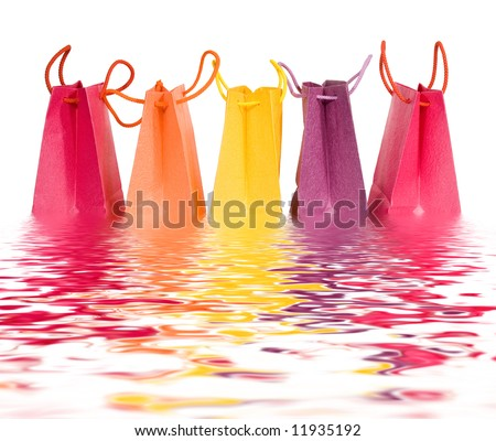 Bags in water isolated on white background (clipping path) - stock photo