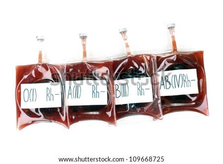 Bags of blood isolated on white - stock photo
