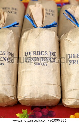 Bags of Herbes de Provence - stock photo