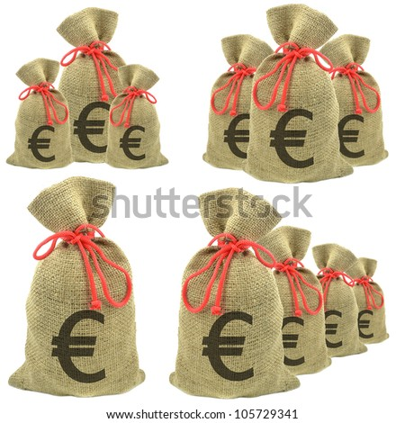 Bags of money with Euro currency on a white background - stock photo