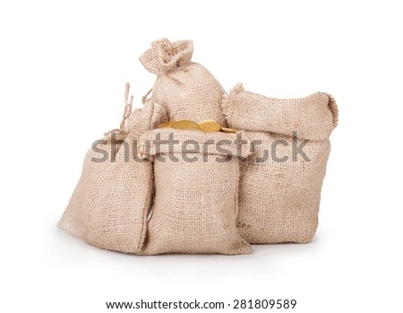 bags with coins isolated on white background  - stock photo