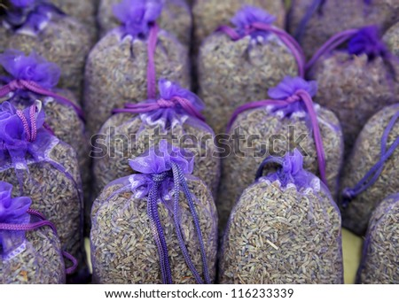 Bags with dried lavender at a French market