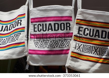 "Bags with ""Ecuador"" written on them in the Otavalo Market"