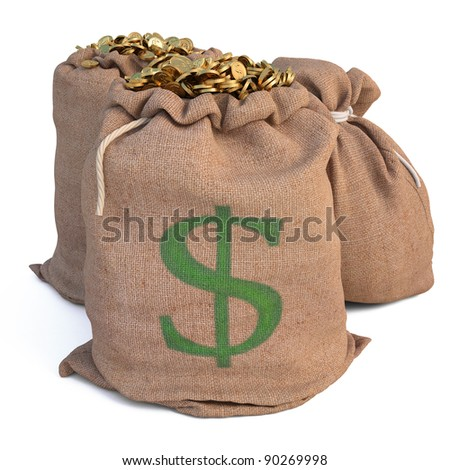 bags with golden coins. isolated on white. - stock photo