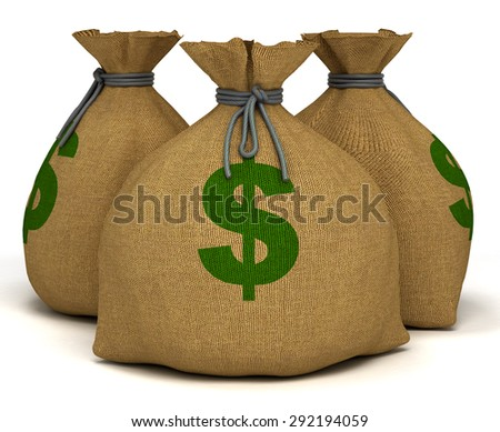 Bags with money. 3d render - stock photo