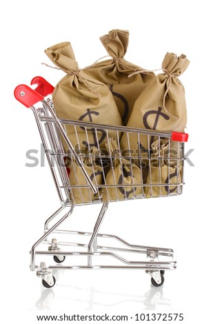 Bags with money in trolley isolated on white - stock photo