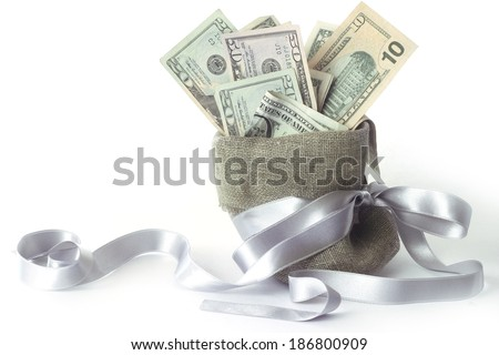 Bags with money isolated on white with copy space - stock photo