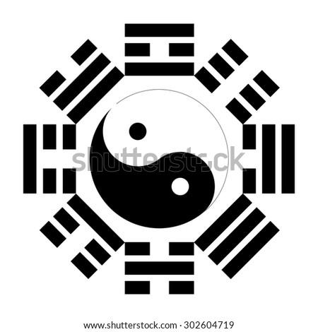 Bagua, Pakua, Feng Shui Compass - stock photo