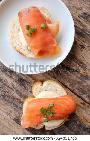 Baguette bread with smoked salmon