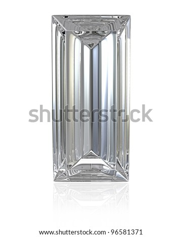 Baguette cut diamond, isolated on white background - stock photo