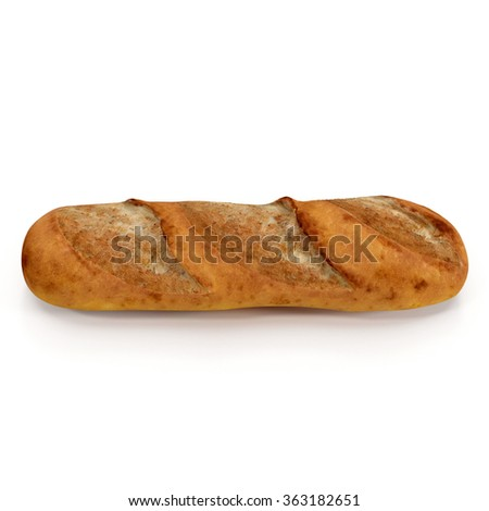 Baguette on White Background