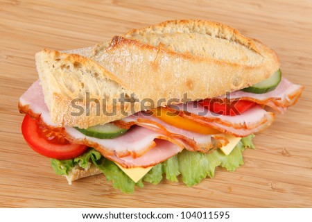 baguette with ham - stock photo
