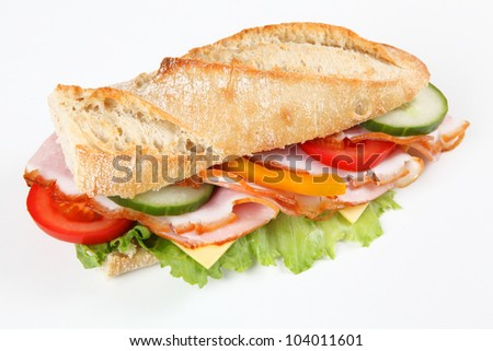 baguette with ham