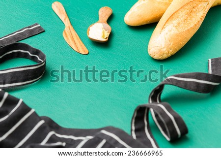 baguettes and butter background - stock photo