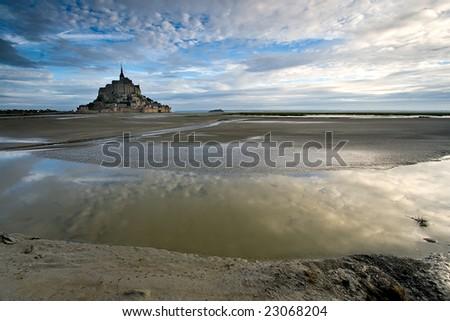 Bahía de Le Mont St Michel, Normandy (France) - stock photo
