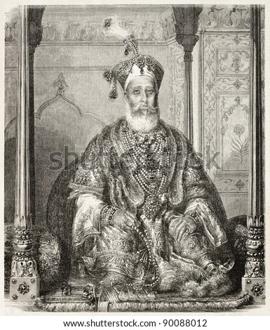 Bahadur Shah II old engraved portrait, Emperor of India. Created by Marc after Schoefft, published on L'Illustration, Journal Universel, Paris, 1858