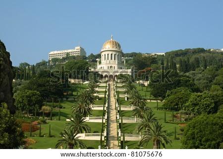 Bahai garden and temple, Haifa, Israel. - stock photo