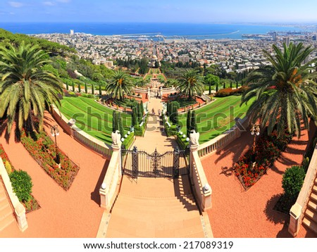 Bahai gardens and temple on the slopes of the Carmel Mountain and view of the Mediterranean Sea and bay of Haifa city, Israel  - stock photo
