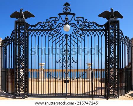 Bahai gardens forget gate and view of the Mediterranean Sea. Haifa,Israel      - stock photo