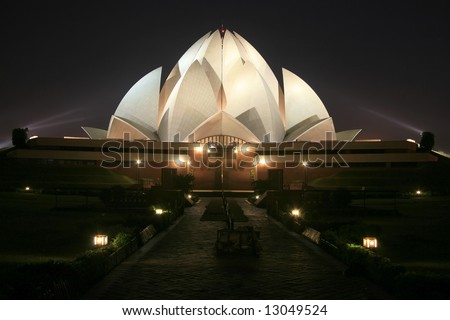 Bahai lotus temple at night in delhi, india - stock photo