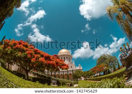 Bahai Temple in Bahai garden in Haifa, Israel. Carmel mountain - stock photo