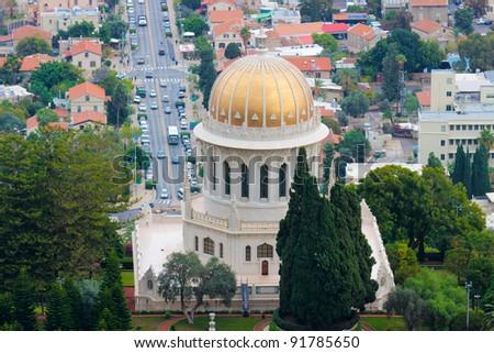 Bahai temple in Haifa, Israel - stock photo