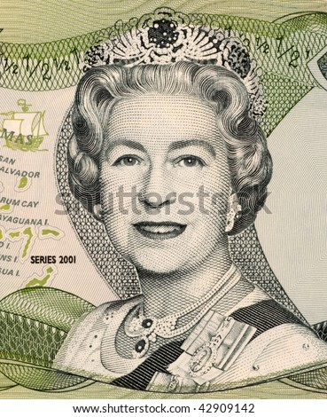 BAHAMAS - CIRCA 2001: Queen Elizabeth II on 50 Cents 2001 Banknote from Bahamas. - stock photo