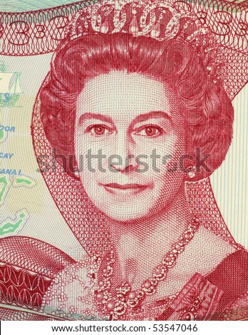 BAHAMAS - CIRCA 1984: Queen Elizabeth II (1926-) on 3 Dollars 1984 Banknote from Bahamas. Queen regnant of 16 independent sovereign states known as the Commonwealth realms. - stock photo