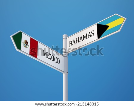 Bahamas  Mexico High Resolution Sign Flags Concept