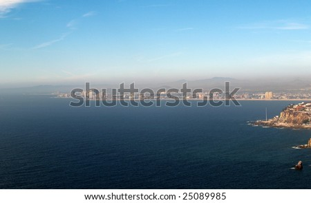 Bahia del Puerto Viejo, Mazatlan, Sonora, Mexico as viewed from the el Faro Lighthouse -  looking northeast Panorama pic 1 of 8