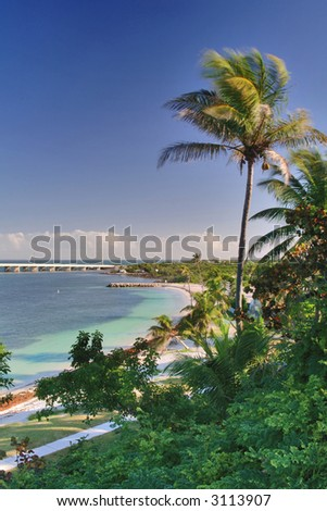 bahia honda beach lagoon and park in florida keys - stock photo