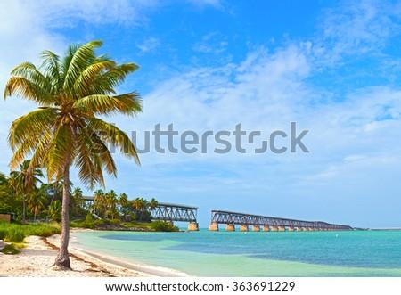 Bahia Honda state park, landmark Flagler bridge on a beautiful summer day, Florida Keys beautiful tropical nature - stock photo