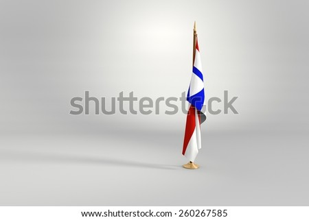 Bahia state isolated flag on a brown and golden wooden mast 3d illustration - stock photo