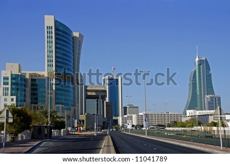 bahrain city, centre, financial centre, bahrain, middle east - stock photo