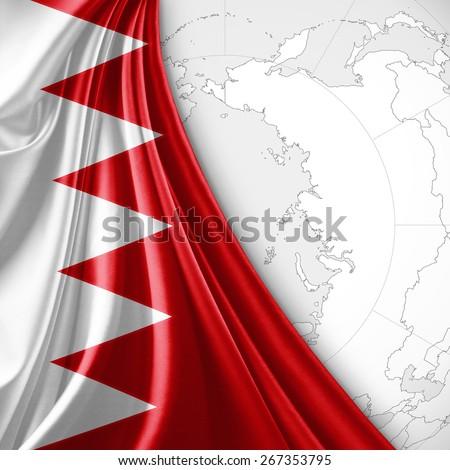 Bahrain flag and world map background - stock photo