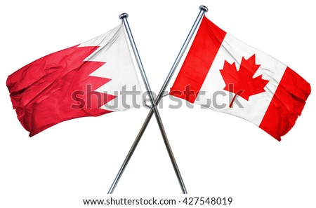 Bahrain flag  combined with canada flag