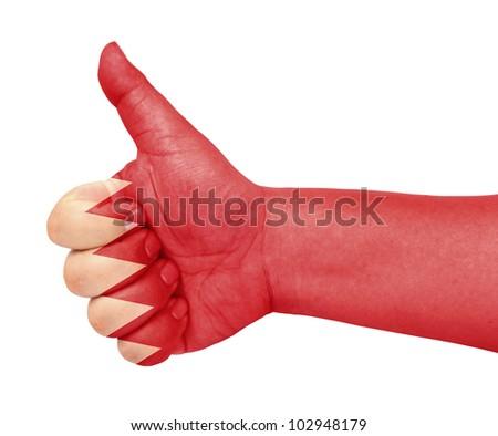 Bahrain flag on thumb up gesture like icon - stock photo