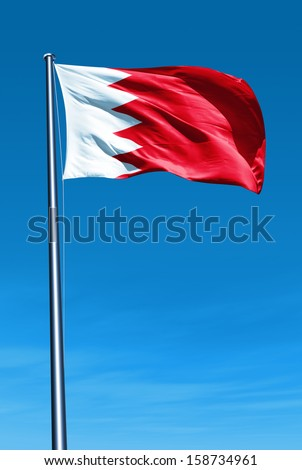 Bahrain flag waving on the wind - stock photo