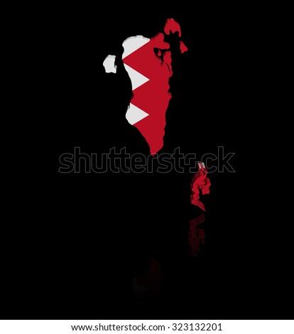 Bahrain map flag with reflection illustration - stock photo