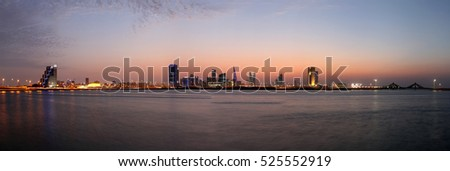 Bahrain skyline a panormic view  after sunset