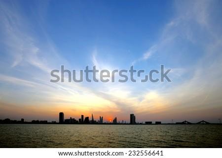 Bahrain skyline during dusk   - stock photo