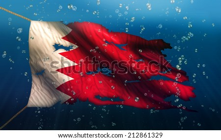 Bahrain Under Water Sea Flag National Torn Bubble 3D - stock photo