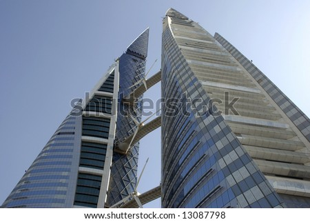 bahrain world financial centre, under construction - stock photo