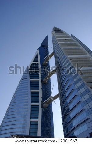 bahrain world trade centre, middle east - stock photo