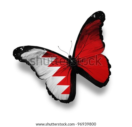 Bahraini flag butterfly, isolated on white - stock photo