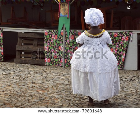 Baiana in Pelourinho - Salvador - Bahia -Brazil - stock photo