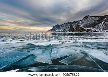 Baikal Ice - stock photo